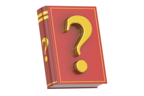 Question Manual concept book with question mark 3D rendering