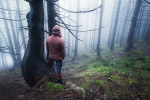 Lonely man at the old foggy forest